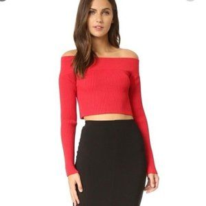 C/Meo Collective 'Life is Real Red Knit Crop Top S